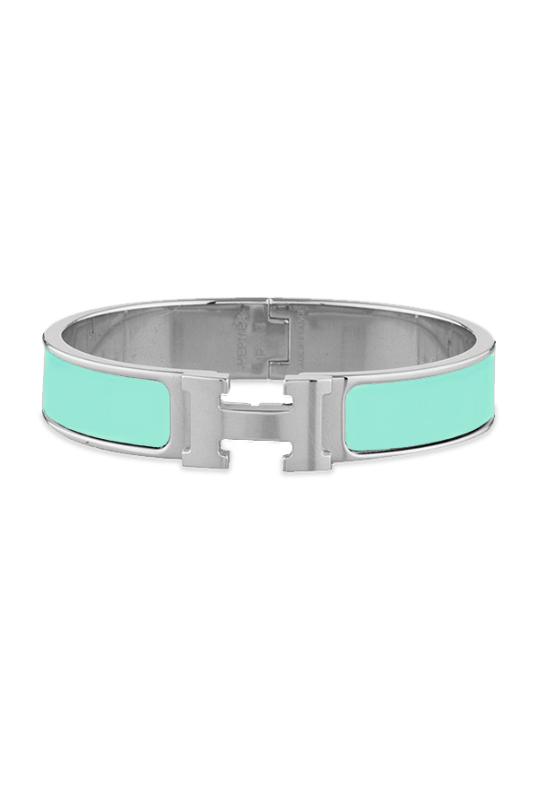 Hermes - Narrow Clic H Bracelet  Mint Green Palladium Plated    PM View 1