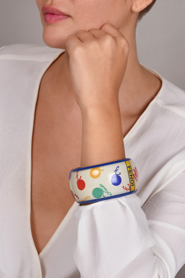 Fendi - Vintage Multicolor Cherry Print Resin Bangle  View 2