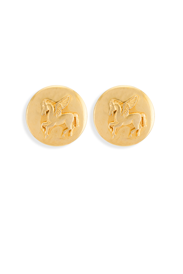 Hermes - Pegasus Motif Clip On Earrings