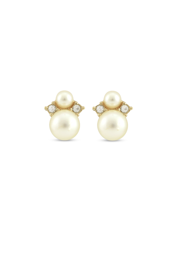 Christian Dior - Vintage Small Faux Pearl Clip On Studs