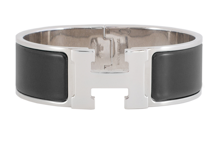 Hermes - Wide Clic H Bracelet (Black/Palladium Plated) - PM