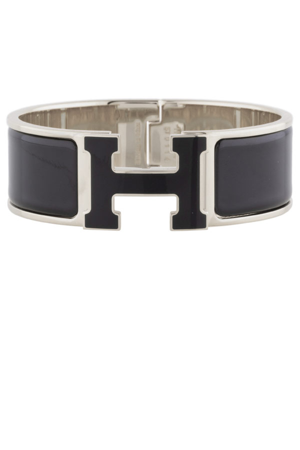Hermes - Wide Clic H Bracelet (Black and White/Palladium Plated) - PM