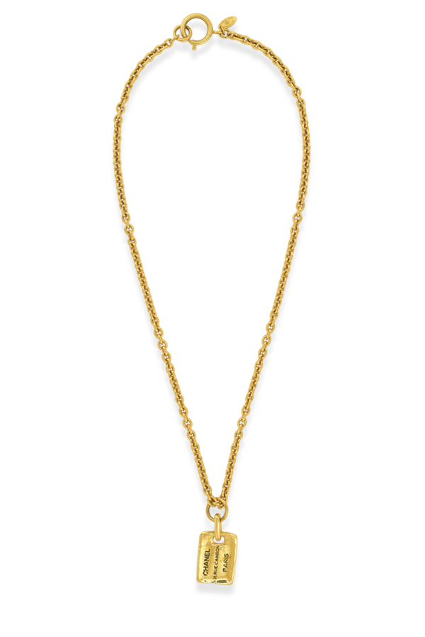 Chanel - Vintage Rectangle Plate Charm Long Chain Necklace