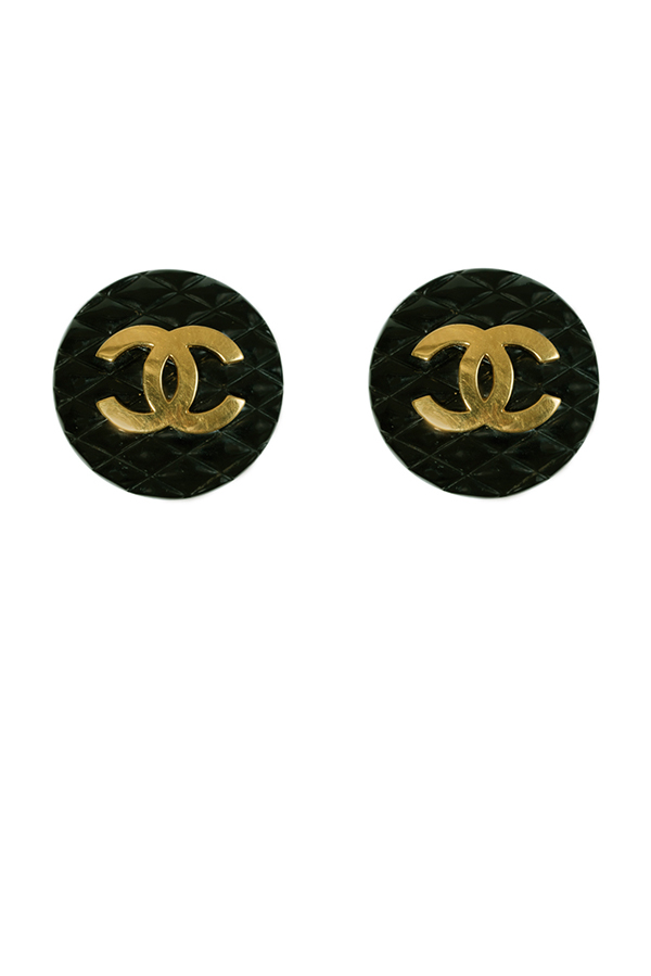 Chanel - Checkered Matelasse Clip On Earrings