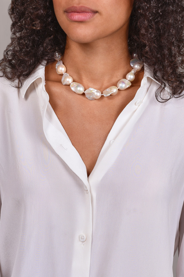Chains and Pearls - White Baroque Pearl Necklace