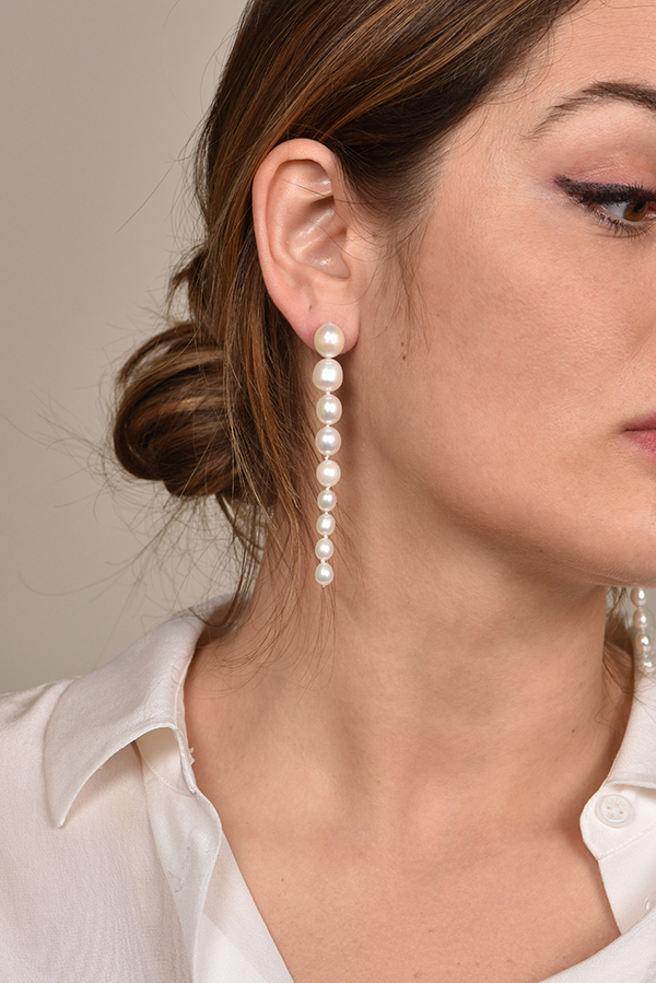 Chains and Pearls - Pearl Icicle Earrings