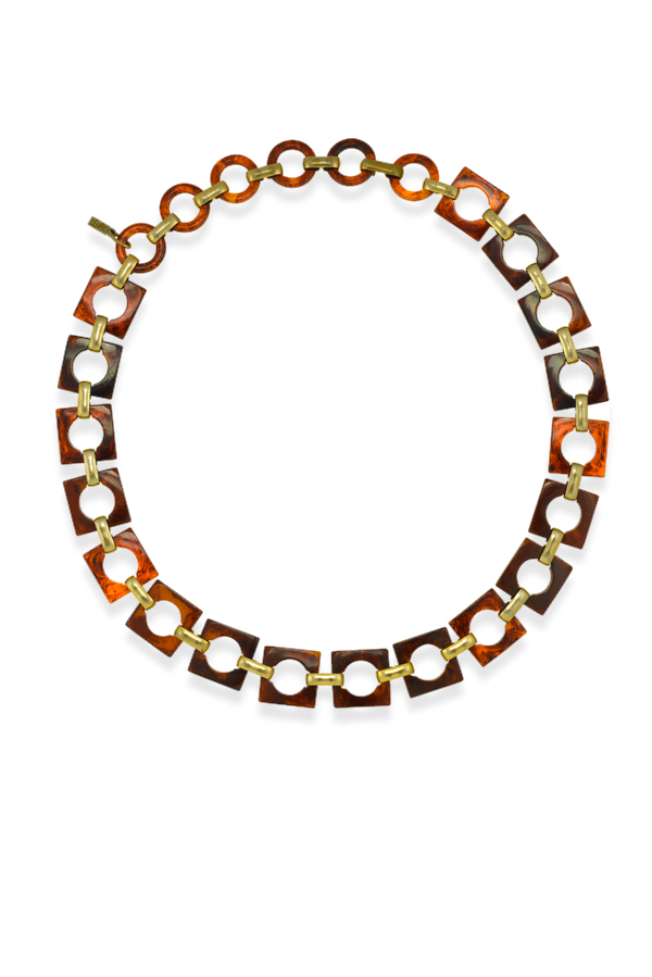 Yves Saint Laurent - 779715113_Switch Jewelry YSL Yves Saint Laurent Vintage Tortoise Pattern Resin Square Link Chain Necklace jpg