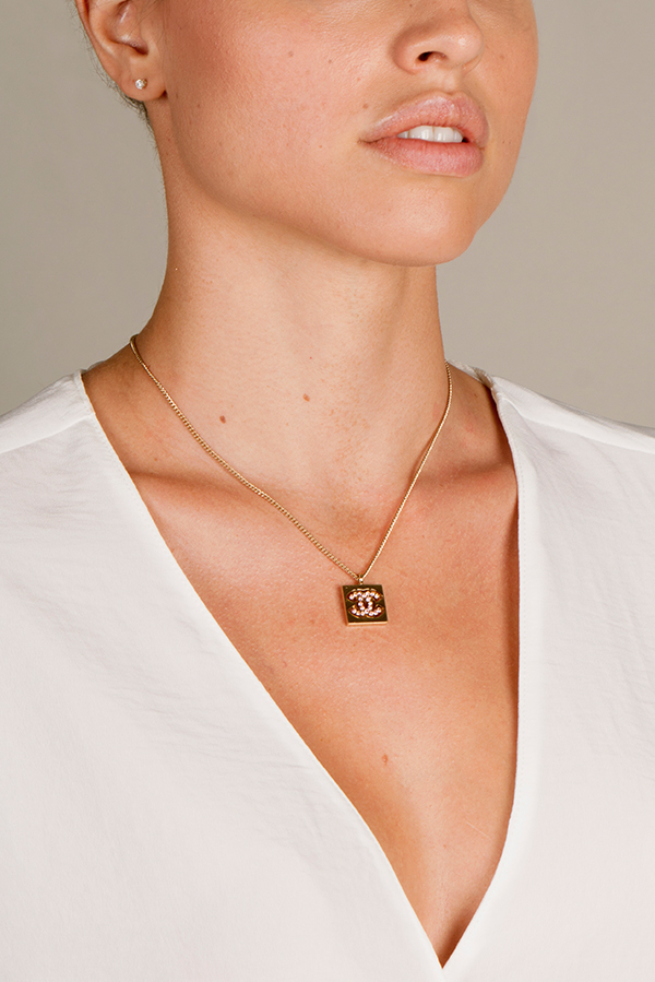 Chanel - CC Logo Square Pendant Necklace