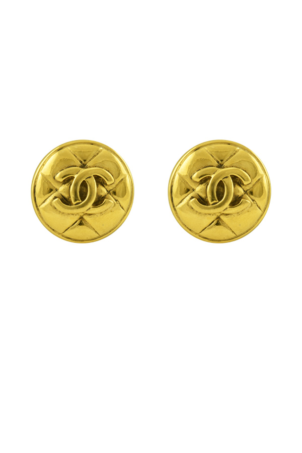 Chanel - Small Quilted CC Clip On Earrings
