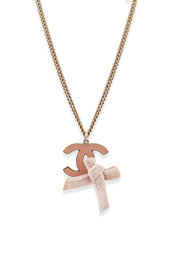 Chanel - Pink Enamel CC Logo Bow Pendant Necklace View 1