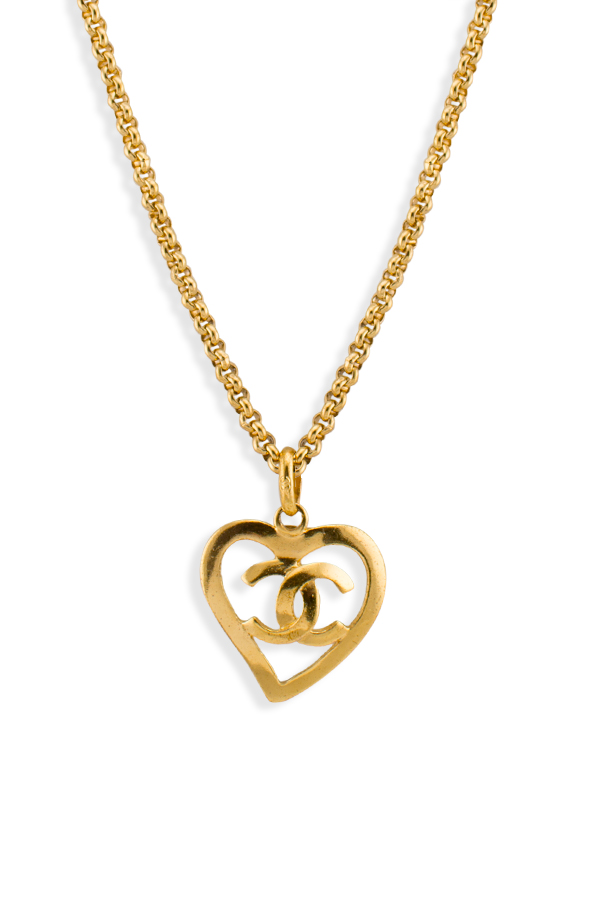 Chanel - Vintage Heart Shape CC Logo Cut Out Pendant Rolo Necklace