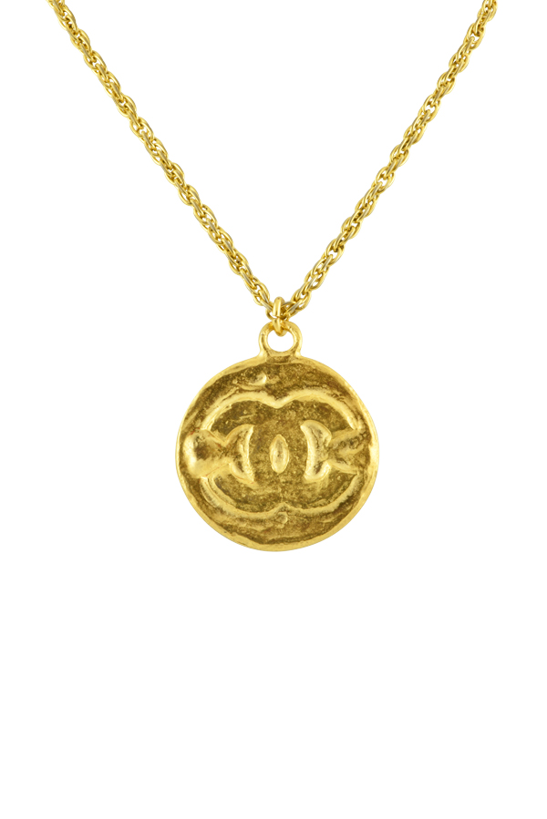 Chanel - Vintage Logo Stamped Coin Pendant Necklace