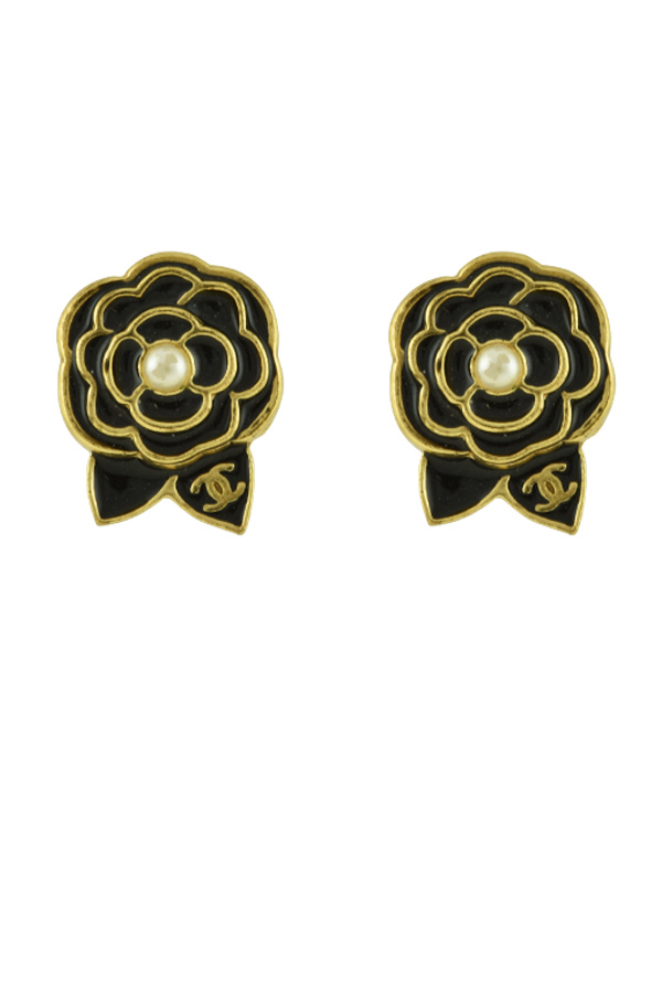 Chanel - CC Black Camellia Clip On Earrings