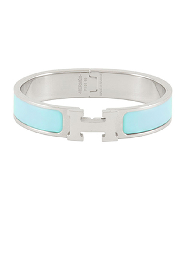 Hermes - Narrow Clic H Bracelet  Light blue Palladium Plated    PM View 1