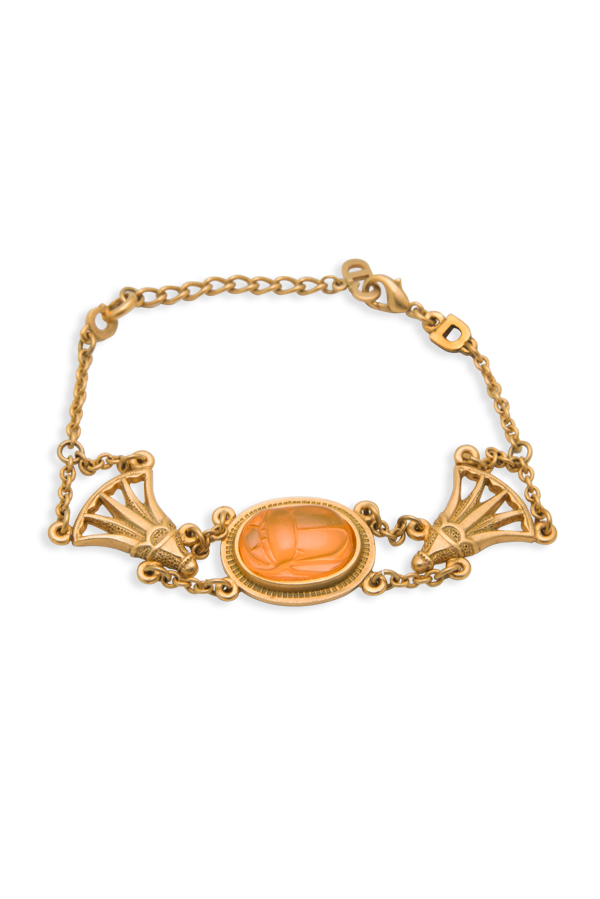 Christian Dior - Orange Carved Resin Chain Bracelet View 1