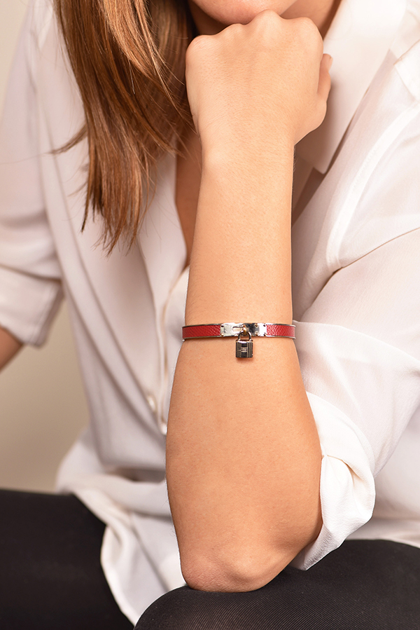 Hermes - Kelly Cadena Lock Bangle (Red And Silver)