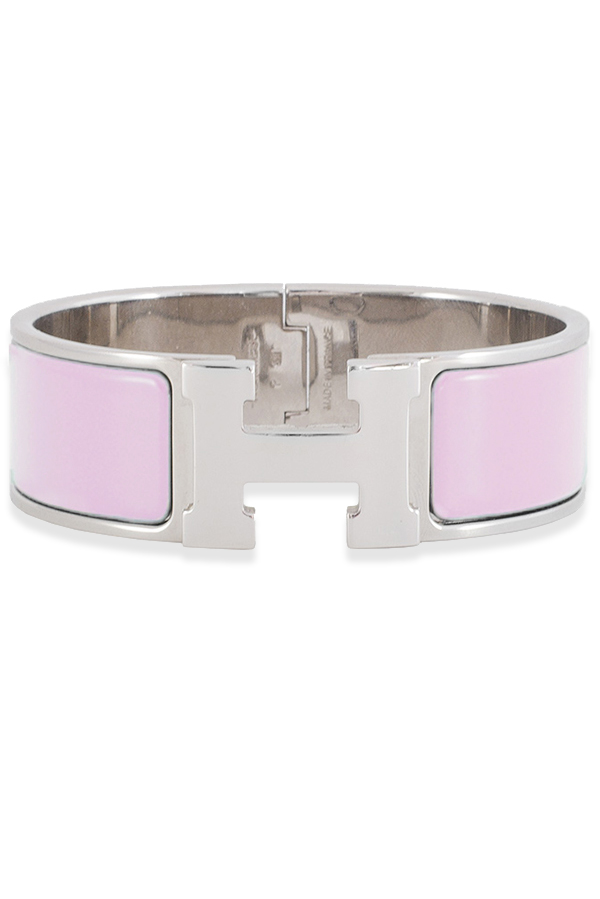 Hermes - Wide Clic H Bracelet (Pink/Palladium Plated) - PM