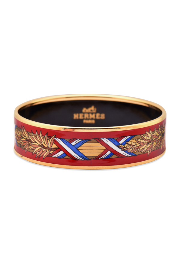 Hermes - Wide Enamel Bangle (Red/French Flag Print)