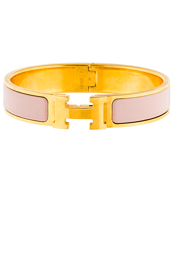 Hermes - Narrow Clic H Bracelet (Blush/Yellow Gold Plated) - PM
