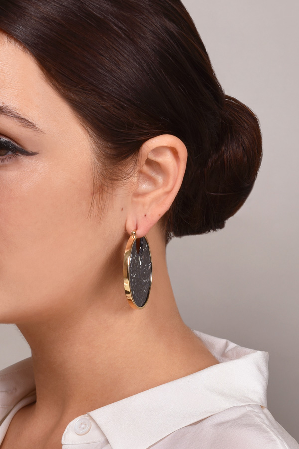 Studio Elke - Eclipse Hoop Earrings (Dark Granite)