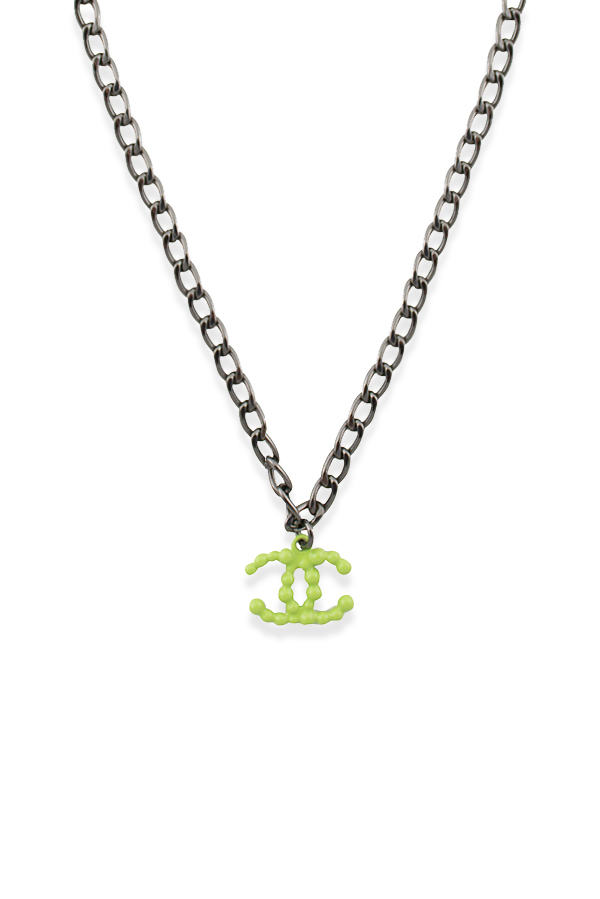 6b8a9bba62c816 Chanel Vintage Neon Green Studded CC Logo Pendant Necklace   Rent ...
