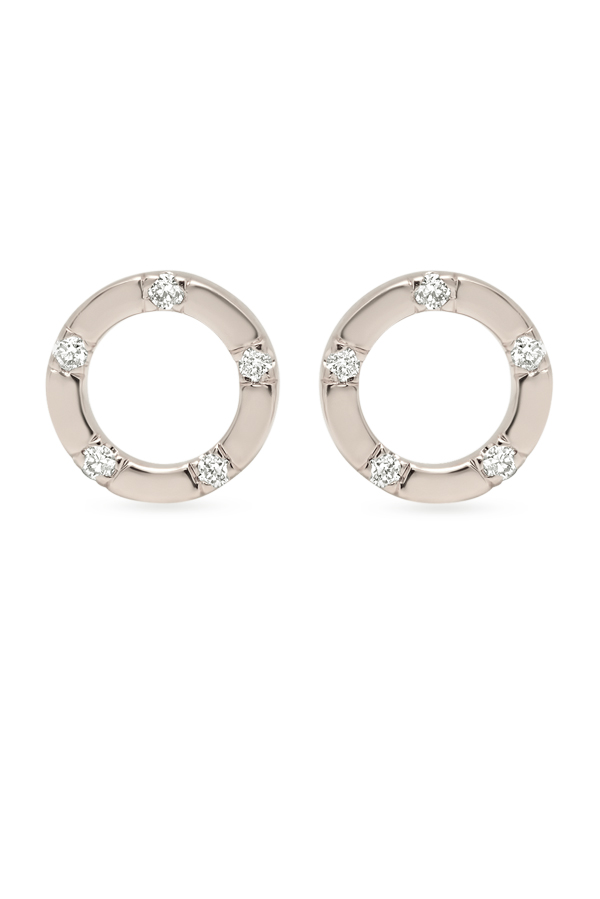 Switch - Simple Diamond Circle Studs (18k White Gold)