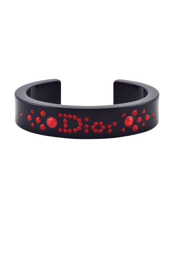 Christian Dior - Narrow Black Lucite Cuff (Red Rhinestones)