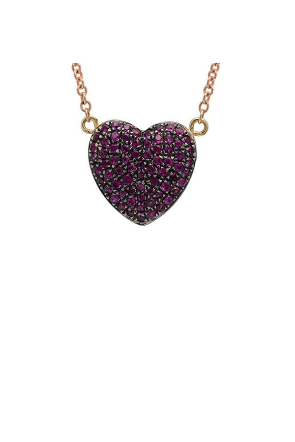 Chains and Pearls - Medium Bliss Heart Necklace (Ruby)