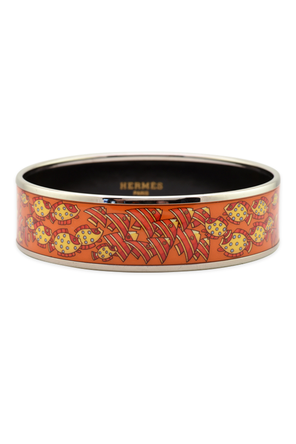Hermes - Wide Enamel Bangle With Fish Motif (Silver/Orange/Fish Print)