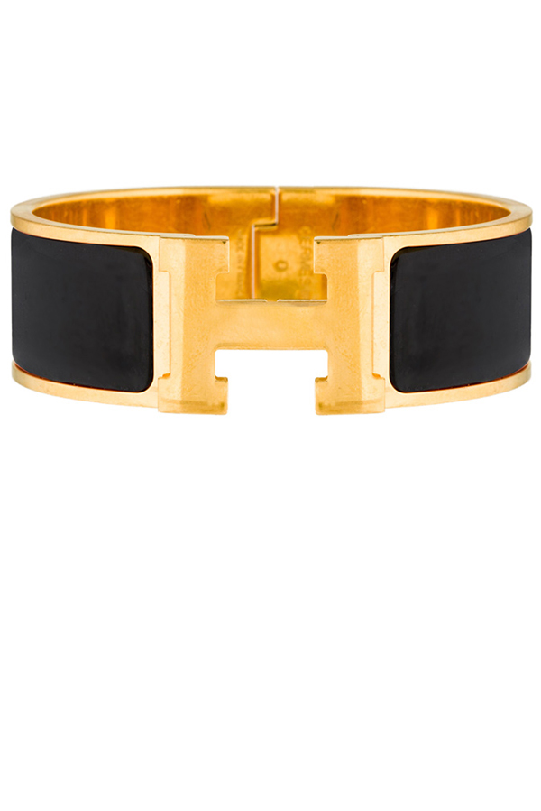Hermes - Wide Clic H Bracelet (Black/Yellow Gold Plated) - PM