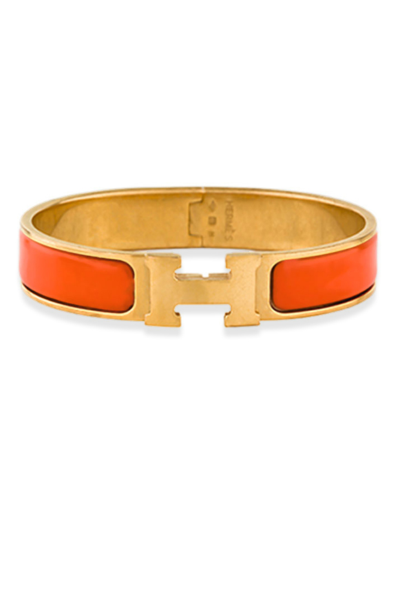 Hermes - Narrow Clic H Bracelet (Orange/Yellow Gold Plated) - PM