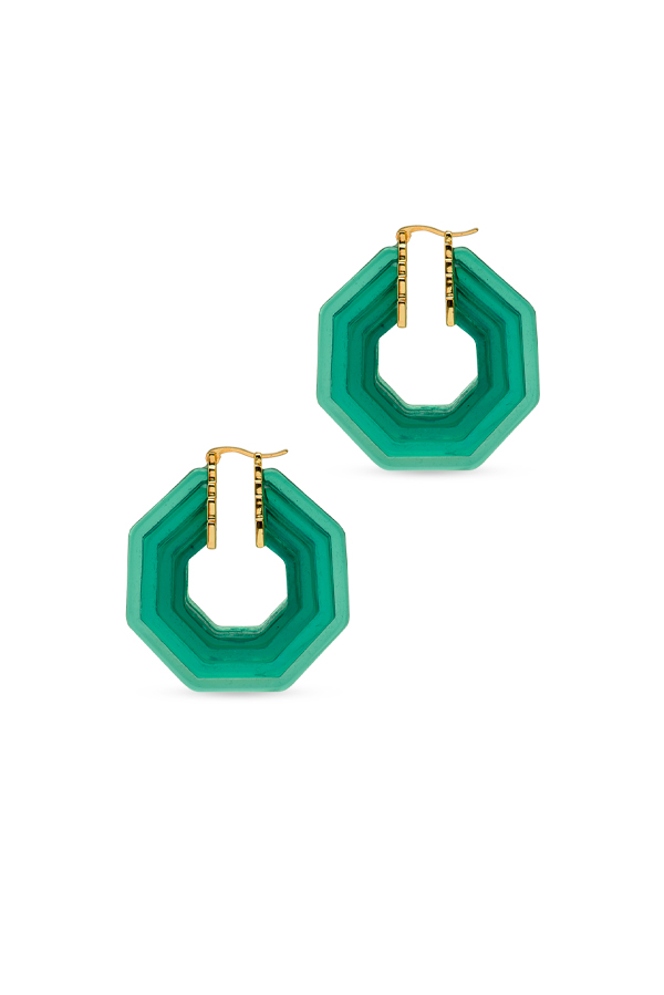 Celine - Lucite Hoop Earrings (Green)