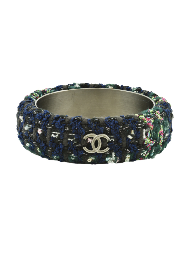 Chanel - Oversized Logo Tweed Bangle (Navy/Green)
