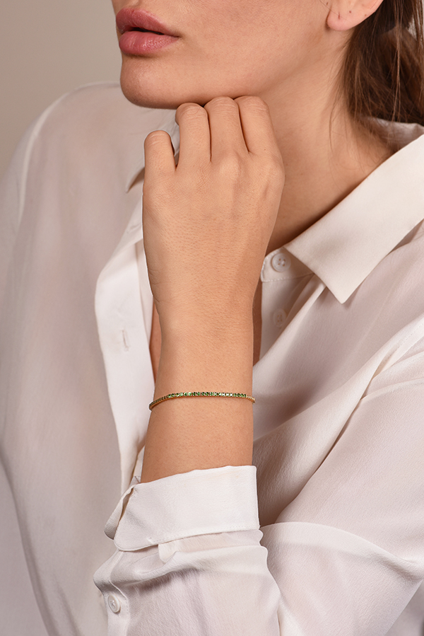 Do Not Disturb - The Toulouse Tennis Bracelet  14k Yellow Gold  amp  Tsavorite    S View 2