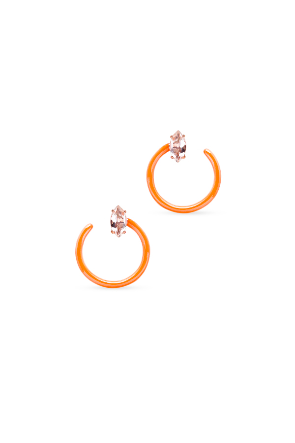Bea Bongiasca - Small Tendril Circle Hoop Earrings (Orange)