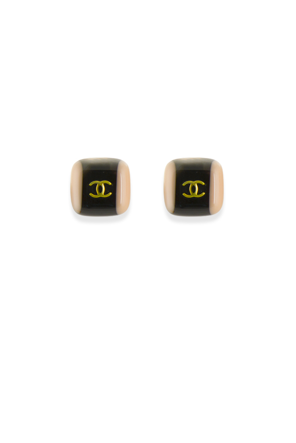 Chanel - Vintage Square Baby Pink And Black Resin Clip On Earrings