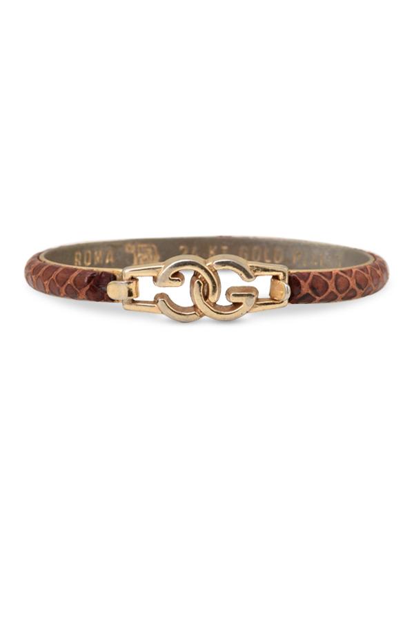 422987611 Gucci Vintage Snakeskin Bracelet (Cognac) | Rent Gucci jewelry for ...