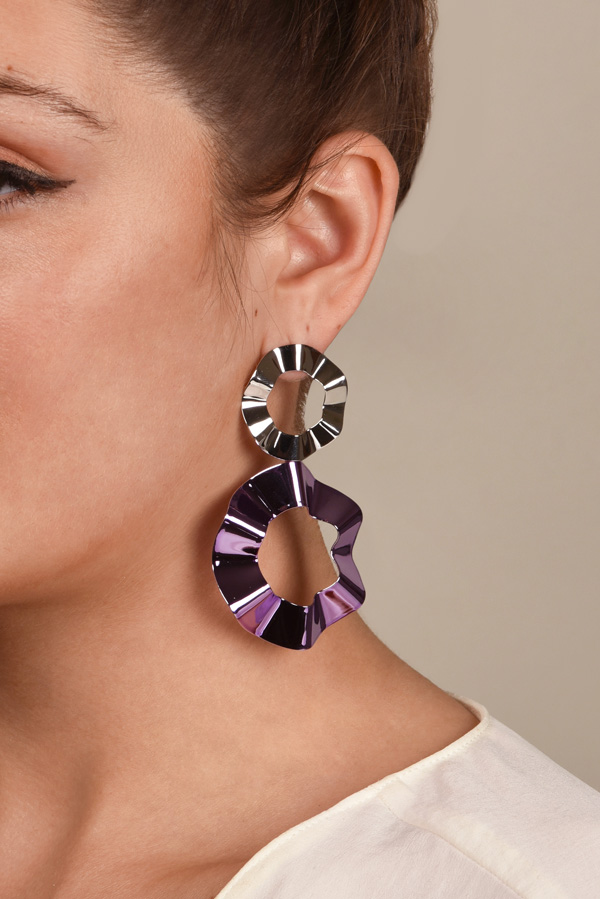 Gaviria - Double Ravioli Earrings (Lavender/Silver)