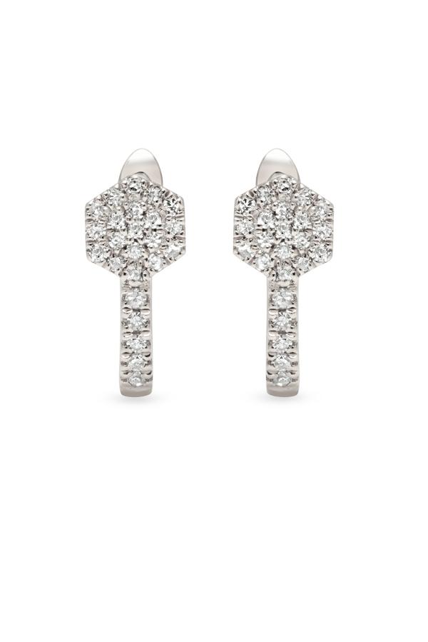 Do Not Disturb - The Rome Huggies (14k White Gold and Diamonds)