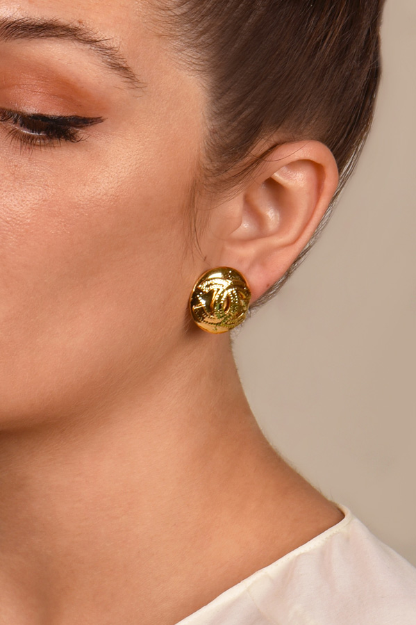 Chanel - Small Vintage Circular CC Earrings