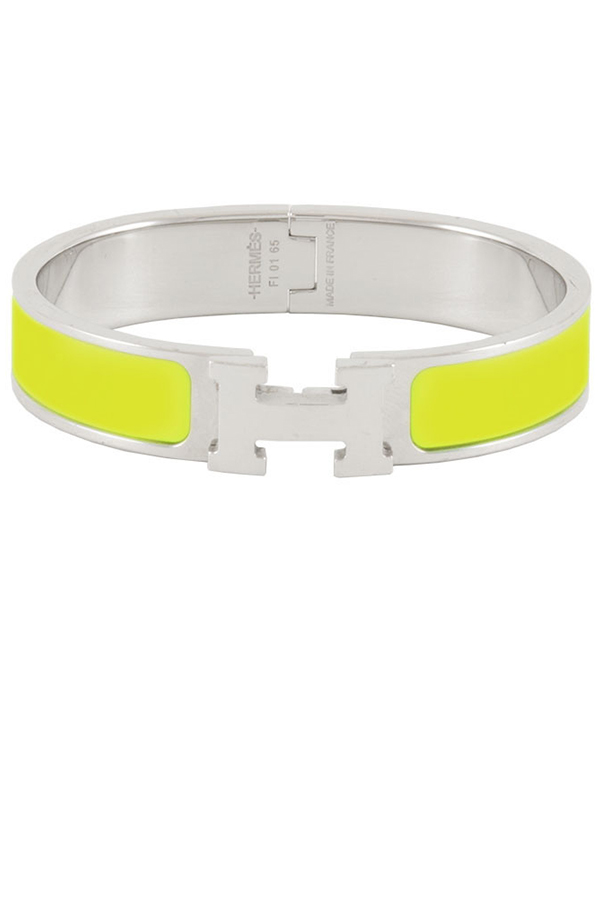 Hermes - Narrow Clic H Bracelet (Lime Green/Palladium Plated) - GM