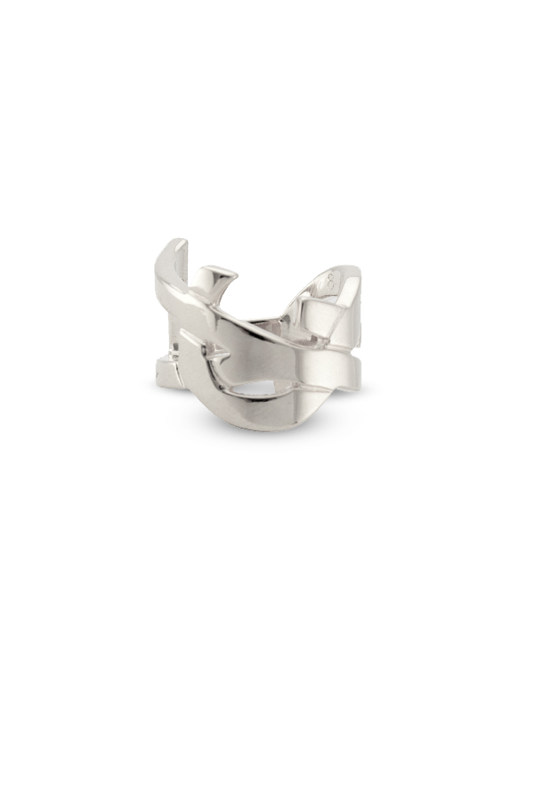 Yves Saint Laurent - Monogram Ring (Silver) - Size 5