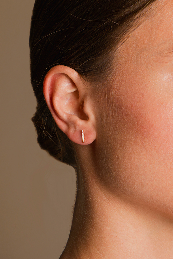 Switch - Diamond Short Bar Studs (18k Rose Gold)