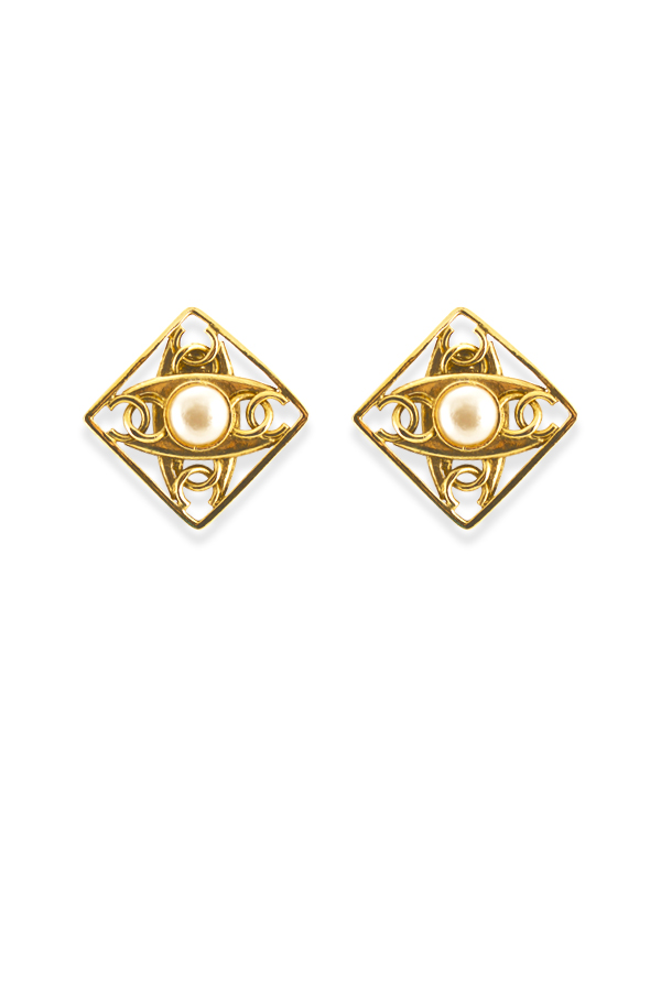 Chanel - Vintage Rhombus Faux Pearl And CC Logo Cutout Clip Ons View 2