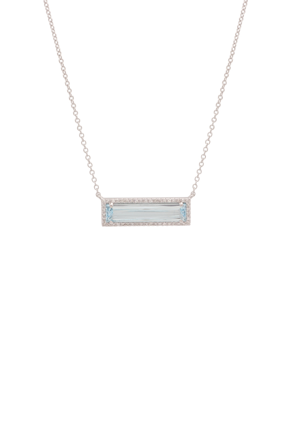 Yu  - Blue Topaz And Diamonds Pendant Necklace (14k White Gold)