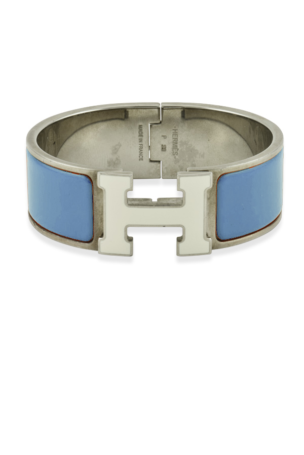 Hermes - Wide Clic H Bracelet (Dusty Blue and White/Palladium Plated) - PM