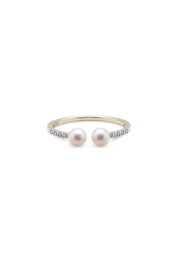 Mateo - Duo Pearl and Diamond Ring - Size 7