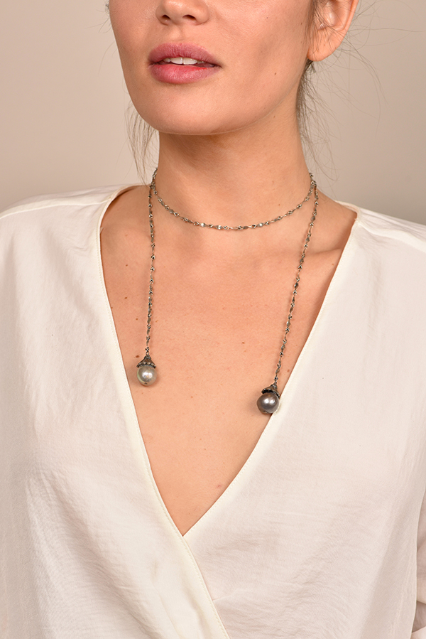 Chains and Pearls - Black Diamond and Pearl Wrap Necklace