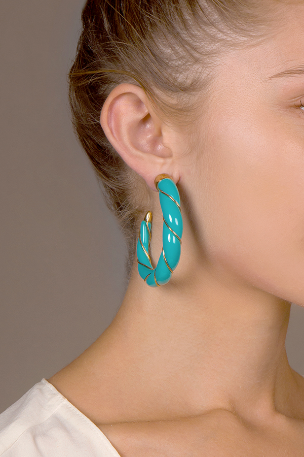 Aurelie Bidermann - Turquoise Twisted Hoop Earrings