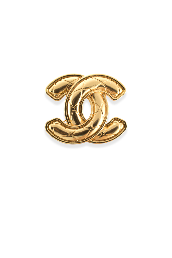Chanel - Vintage Quilted CC Logo Brooch